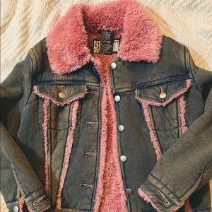 90's Vintage Pink Faux Fur Denim Jacket
